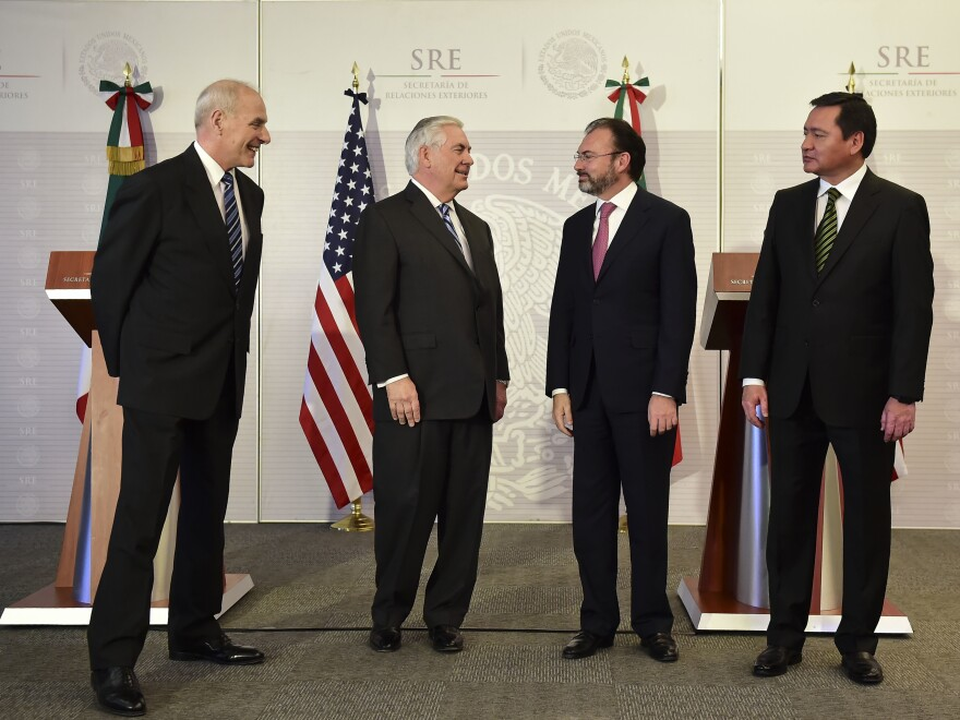 Homeland Security chief John Kelly (from left), Secretary of State Rex Tillerson, Mexican Foreign Minister Luis Videgaray and Mexican Interior Minister Miguel Angel Osorio Chong spoke with reporters after initial meetings in Mexico City Thursday.