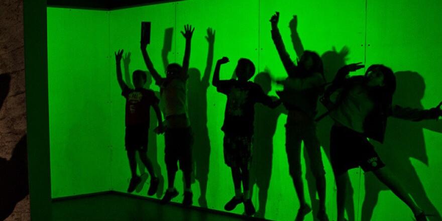 Children experiment with a shadow box at San Francisco's Exploratorium before the coronavirus pandemic.