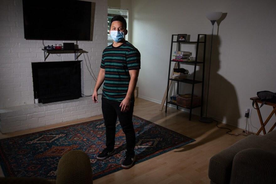 UT student Sean Saldana in his North Austin apartment