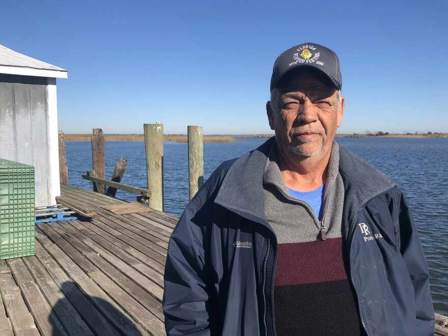 "Joseph ""Smokey"" Parrish has worked at 13 Mile Seafood for 37 years. He oversees the wholesale shrimp operation and is also a Franklin County commissioner. He says nearly 5,000 jobs are at stake if the fisheries here collapse."