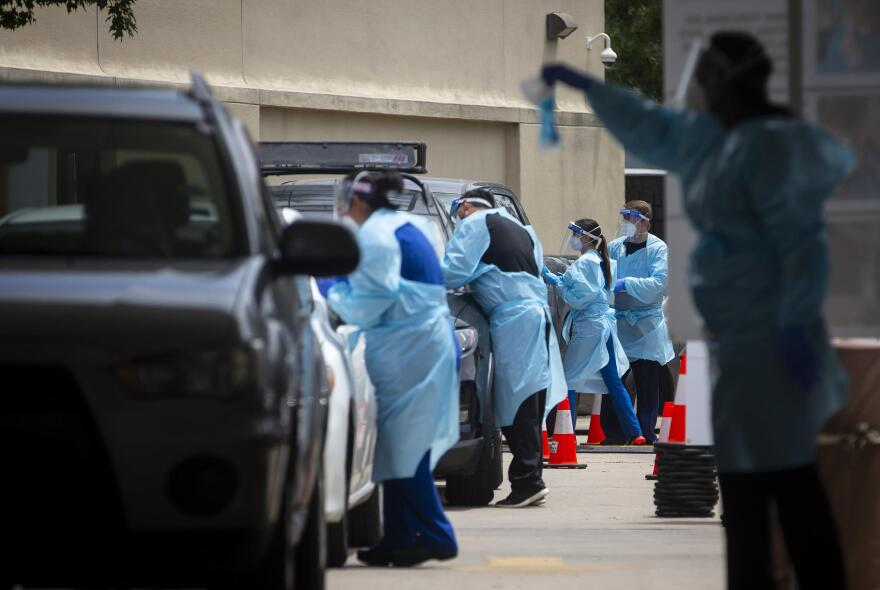 A COVID-19 testing site in Houston on June 27. Under the state's vaccine distribution plan, vulnerable people would likely be the first to get the vaccine in the early months that it's available.