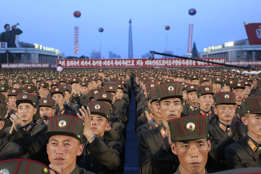 Soldiers gather in Kim Il Sung Square in Pyongyang, North Korea,Thursday, July 6, 2017, to celebrate the test launch of North Korea's first intercontinental ballistic missile two days earlier. (Jon Chol Jin/AP)