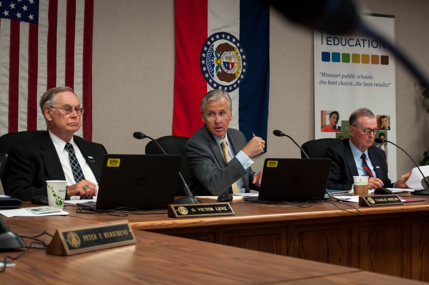 Missouri State Board of Education member Vic Lenz, board President Charlie Shields, and interim Education Commissioner Roger Dorson during the state school board's first meeting Thursday in six months.