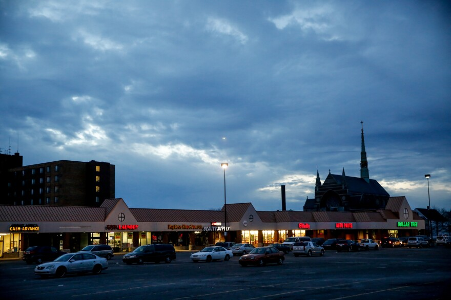 A view of a portion of Hamtramck, Mich., with St. Florian Church in the distance.