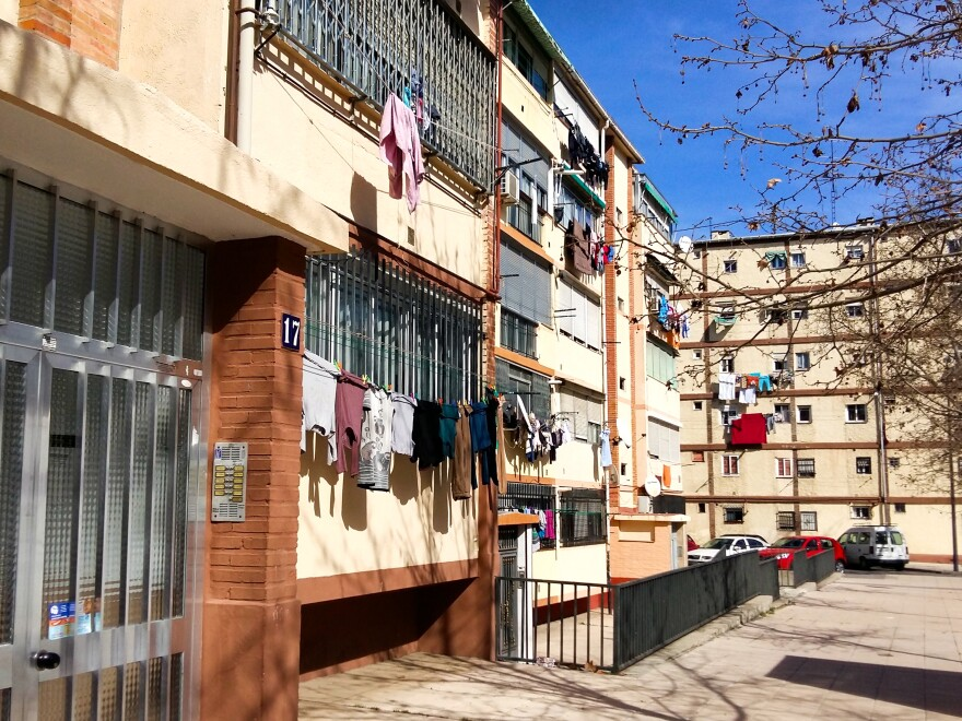Concrete apartment blocks line a street in San Cristóbal de los Ángeles, a southern suburb of Madrid. Even though Spain has experienced an economic crash and an influx of immigrants, and there's widespread distrust of politicians, no far-right movement has sprung up.