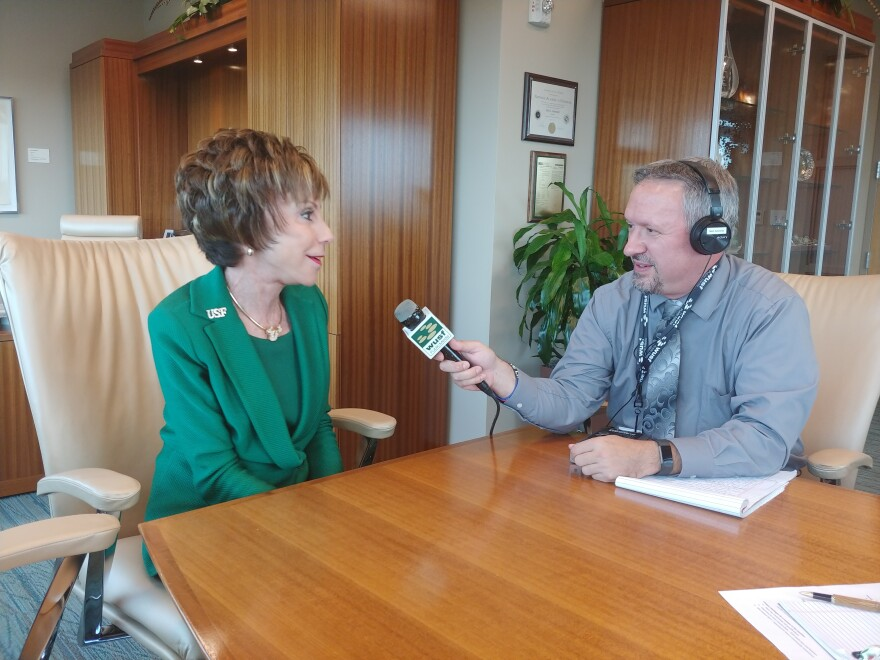 USF System President Judy Genshaft speaks to WUSF's Mark Schreiner in her Tampa office in April.