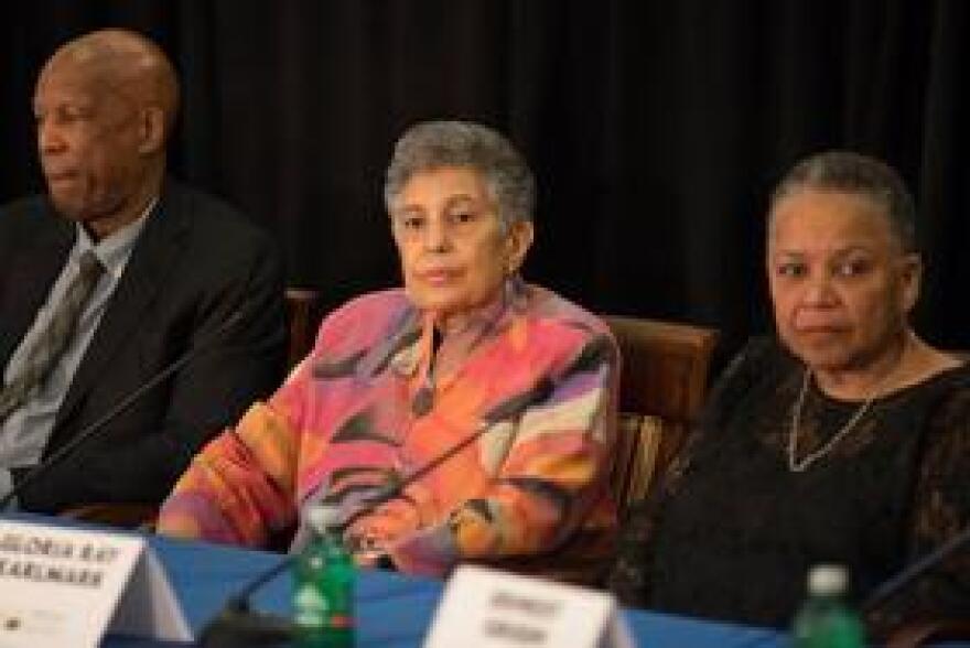 Carlotta Walls LaNier (center) at Friday's press conference.