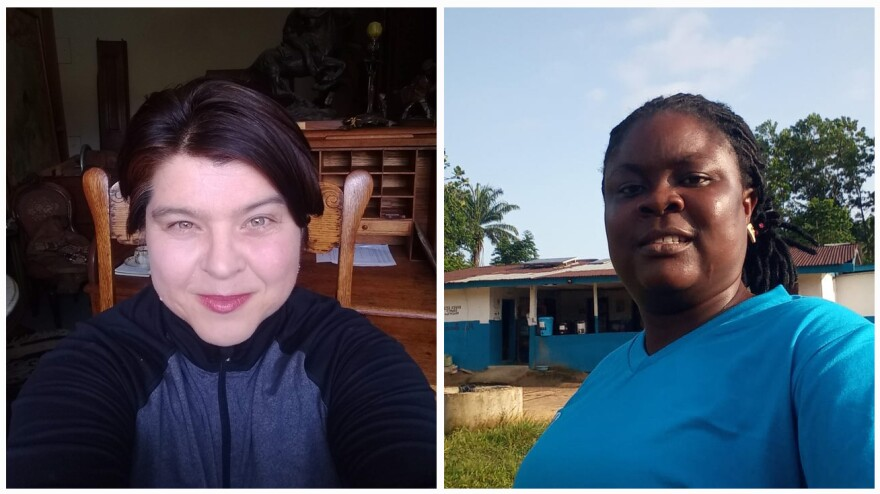 Left: Jana De Brauwere, a contact tracer in California. Right: Rachel Saykpah, a nurse in Liberia who has overseen contact tracers in Africa since 2014.