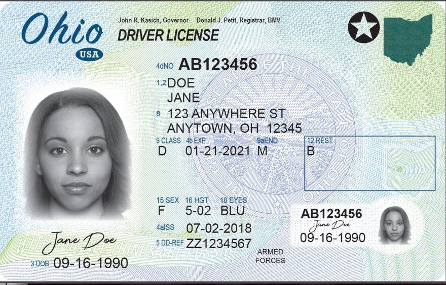 photo of Ohio driver's license