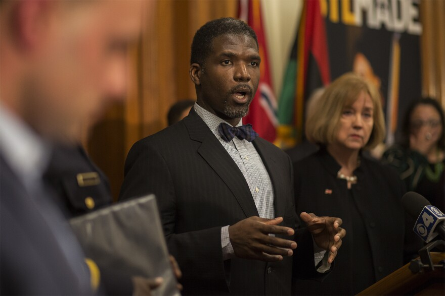Fredrick Echols, director of the St. Louis Department of Health, speaks about the city's response to COVID-19 during a news conference at City Hall on March 12, 2020.