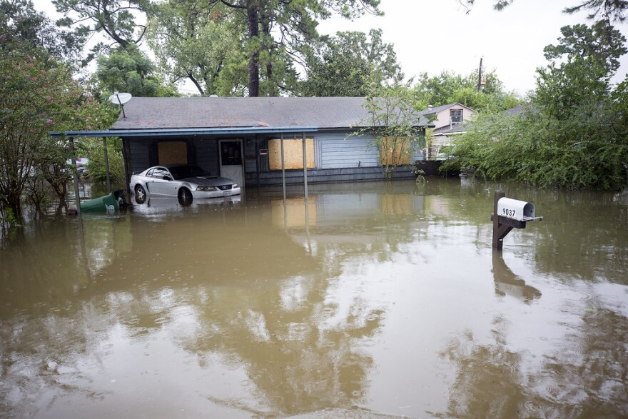 A house is flooded in Houston after Hurricane Harvey.