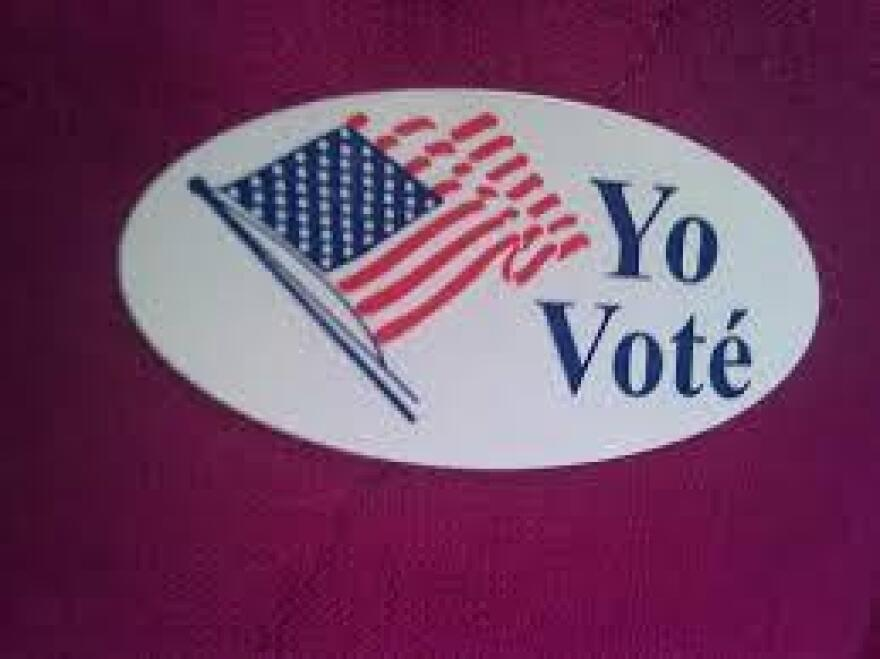 "A Spanish-language election-day sticker: ""I voted."""