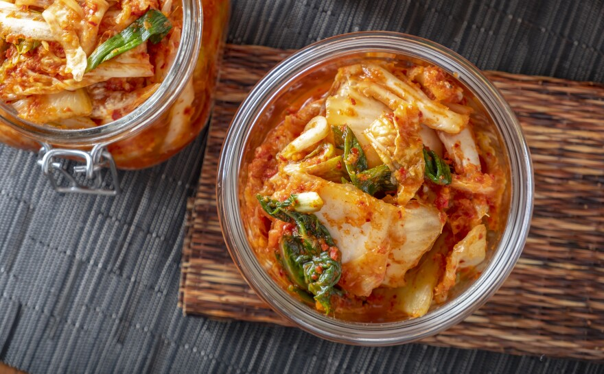 Korean kimchi, made of salted and fermented vegetables, contains microbes that contribute to its distinctive taste.