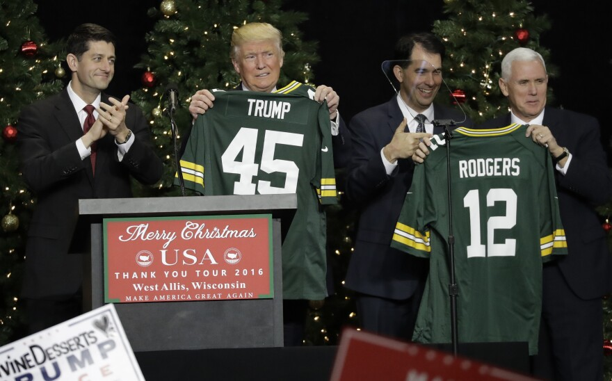 In December 2016, then-House Speaker Paul Ryan and Gov. Scott Walker gave President-elect Donald Trump and Vice President-elect Mike Pence Green Bay Packers jerseys in honor of winning their home state of Wisconsin.
