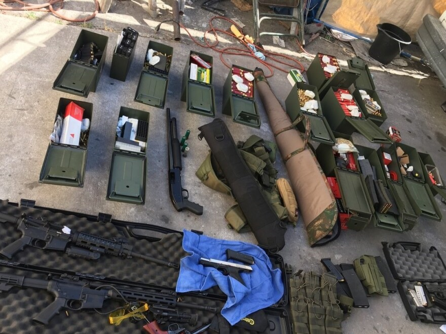 Authorities in Southern California seized a stockpile of high-powered firearms, ammunition and tactical gear from the property of Rodolfo Montoya, who authorities say had been planning a mass shooting because of a dispute involving his work's human resources department.