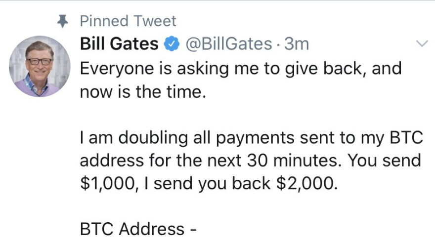 Bill Gates hacked tweet