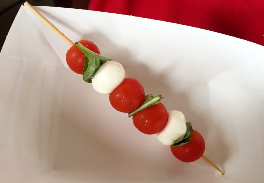 Caprese salad on a stick is one of the healthier options at this year's Iowa State Fair.