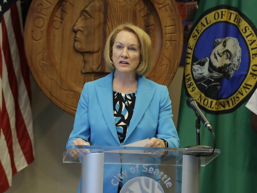 Seattle Mayor Jenny Durkan speaks earlier this month at a news conference. Durkan and the governor of Washington state said U.S. officers sent to protect federal buildings in the city have since left.