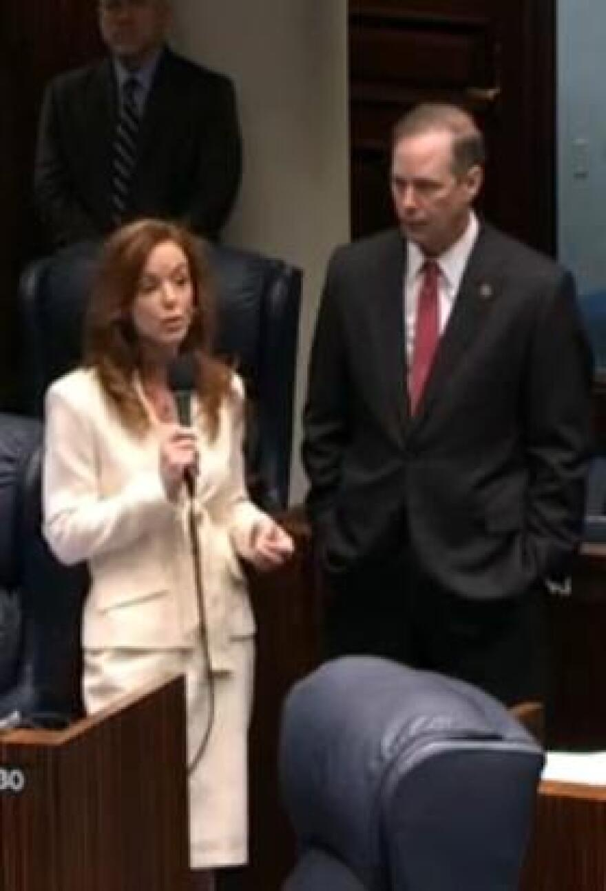 Sen. Lizbeth Benacquisto (left) joined by Sen. Wilton Simpson during the initial presentation of the bill last week.