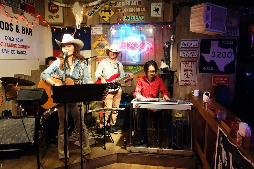 Live country music is one of Little Texas' authentic features, along with line dancing, beer and chicken-fried steak.