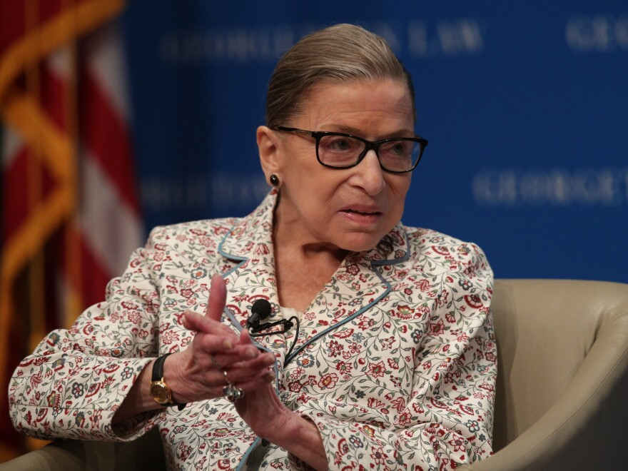 Supreme Court Justice Ruth Bader Ginsburg was released from the hospital Sunday after being admitted for chills and fever two days earlier. Ginsberg is seen here in July.