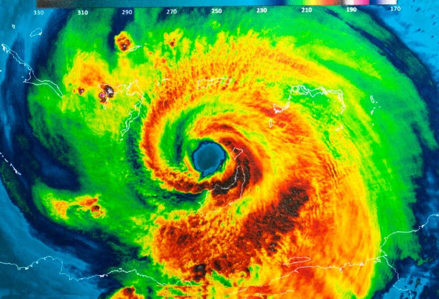 Geocolor image of the eye of 2017's Category 5 Hurricane Irma. Elements of this image furnished by NASA.