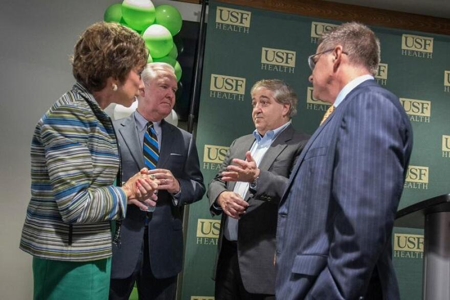Judy Genshaft, Tampa Mayor Bob Buckhorn and Tampa Bay Lightning owner Jeff Vinik talk.