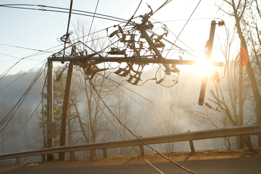 A wildfire knocked out power to thousands of people in eastern Tennessee.