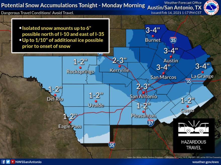 Snowfall forecast for South Central Texas