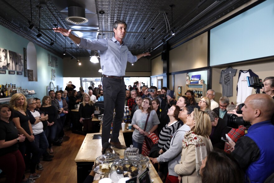 Former Texas congressman Beto O'Rourke speaks to local residents during a meet and greet at the Beancounter Coffeehouse & Drinkery, Thursday, March 14, 2019, in Burlington, Iowa.