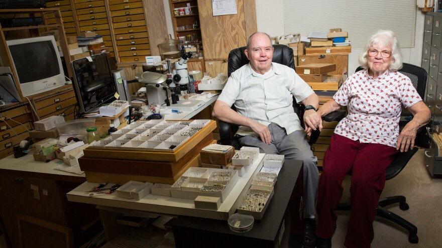Charlie and Lois O'Brien pose for a portrait inside their home in Green Valley, Ariz., on March 8. The couple spent six decades collecting more than a million insects.