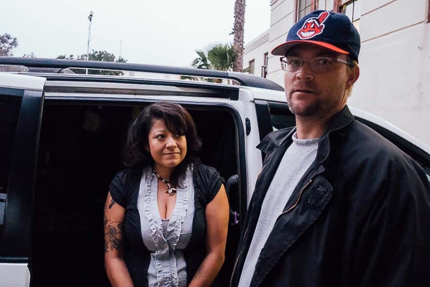 Army veteran Adam John Halvorsen and his girlfriend, Angela Del Castillo, were the first participants in a Safe Parking Program on the West Los Angeles VA campus.