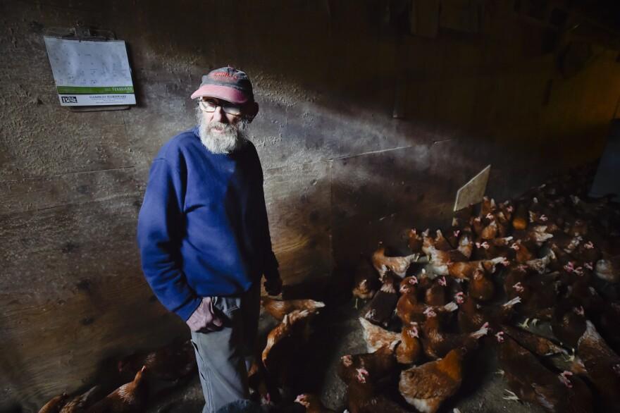 68-year-old Hugh Spencer checks on one of his three chicken barns near Plains, Montana takne on June 11, 2020.