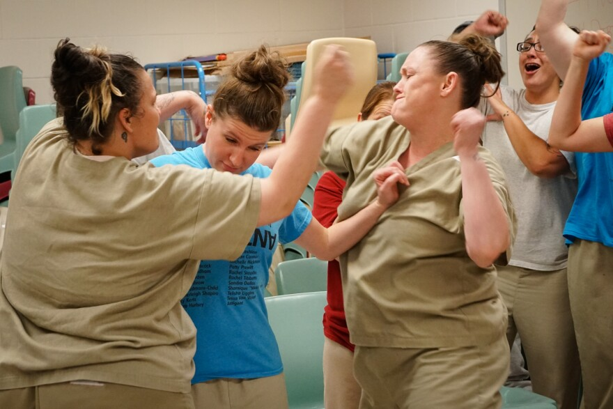 "Women at the prison in Vandalia, Missouri rehearse a scene from ""Hip Hop Hamlet."" 10/12/18"