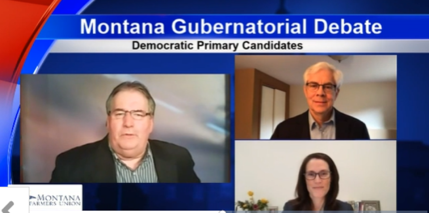 Host Jim Sargent on the left, Democratic candidate Mike Cooney on the top right and Democratic candidate Whitney Williams on the bottom right during the virtual debate Apr. 27, 2020.