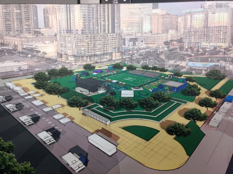 """Rendering shows what the """"House of Soccer"""" at Romare Bearden Park will look like during the International Champions Cup match weekend July 19-20."""