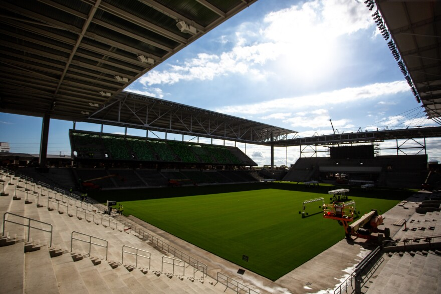 Sunlight shines on the field at Austin FC Stadium