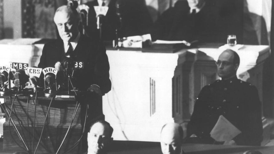 President Franklin D. Roosevelt addressed Congress on Dec. 8, 1941, a day after the Pearl Harbor attacks, to ask for a declaration of war against Japan.
