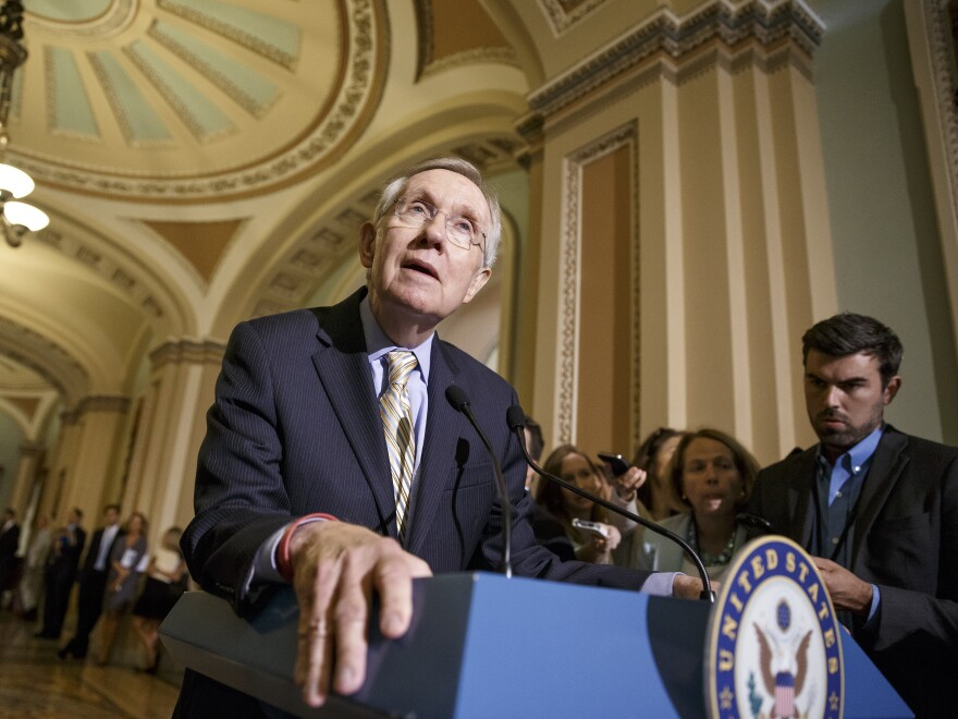 Senate Majority Leader Harry Reid, D-Nev., speaks to reporters after a Democratic caucus meeting at the Capitol last Tuesday.
