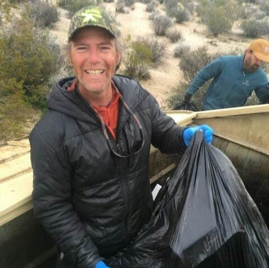 Seth Zaharias and a volunteer crew worked to clear out dumpsters at Joshua Tree National Park late last month.