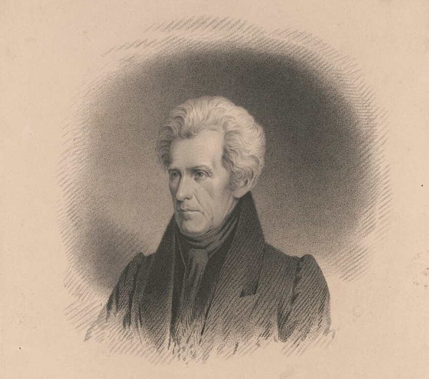 A drawing of President Andrew Jackson as drawn by James B. Longacre.