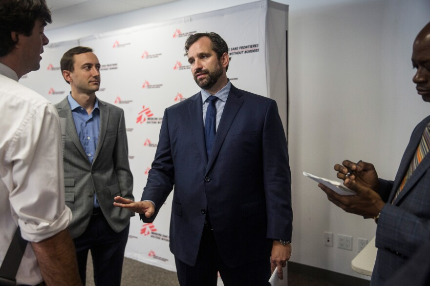 In October, Jason Cone (in blue suit), executive director of Doctors Without Borders, spoke at press conference in New York calling for an independent investigation of the bombing in Kunduz.