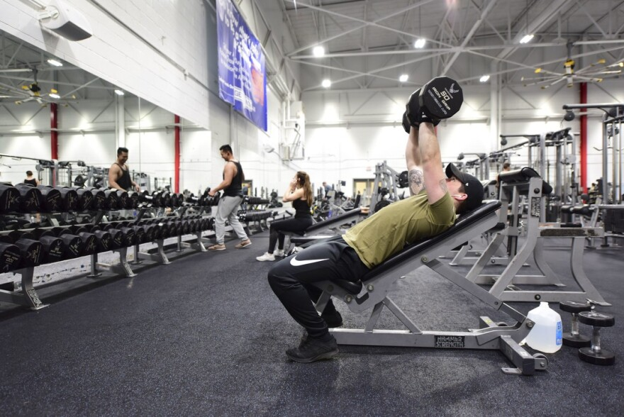 Gyms are allowed to reopen, but patrons are asked to stay at least six feet apart, among other social distancing and hygiene practices.