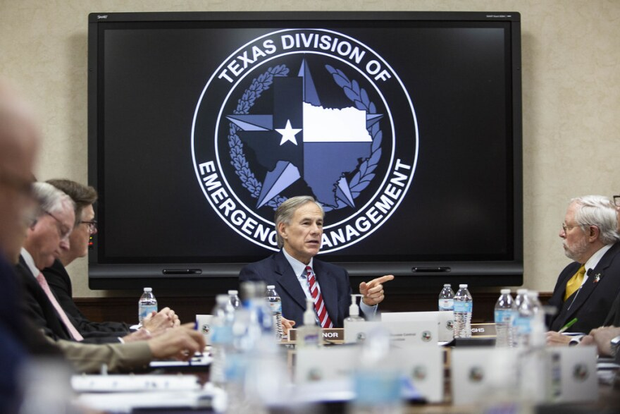 Gov. Greg Abbott speaking to officials at the State Operations Center on Feb. 27, 2020.