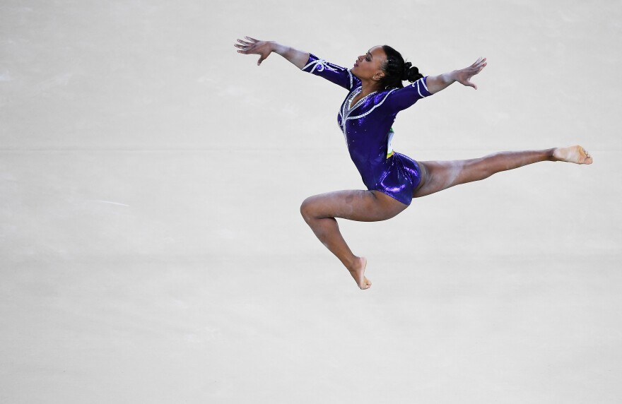 Rebeca Andrade of Brazil competes on the floor.