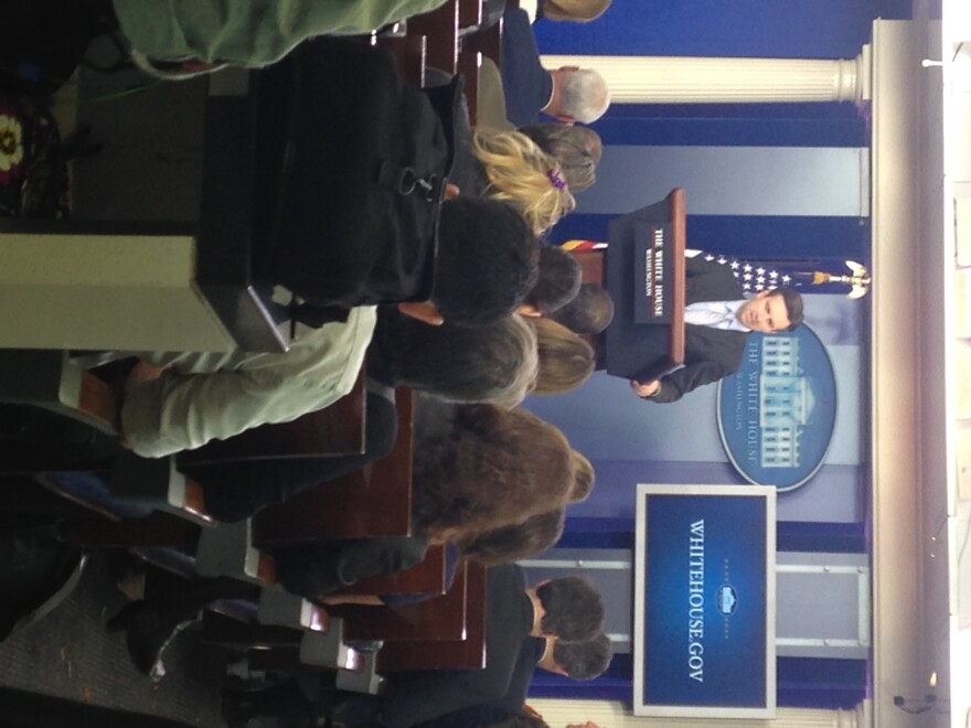Press Secretary Josh Earnest updates national media Thursday in the White House Press Briefing Room.