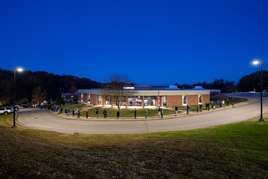 Voters line up outside Parkway West Middle School in Chesterfield to vote on Election Day.