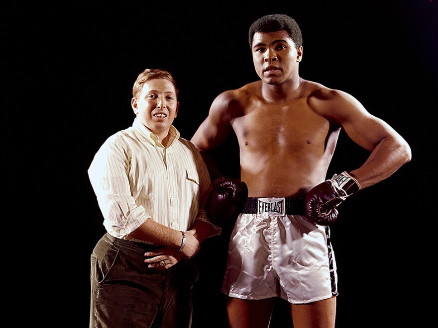 Portrait of Muhammad Ali with Sports Illustrated photographer Neil Leifer during photo shoot at Life Studios, New York, NY. Photo from <em>Relentless: The Stories behind the Photographs</em>, by Neil Leifer with Diane K. Shah (University of Texas Press, 2016)