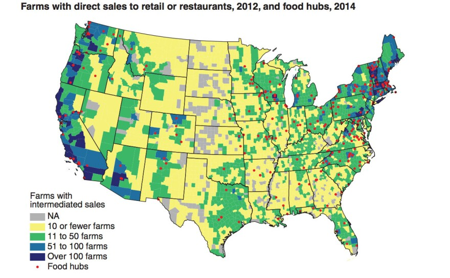 Source: USDA Economic Research Service, datat from Census of Agriculture, 2012; USDA Agricultural Marketing