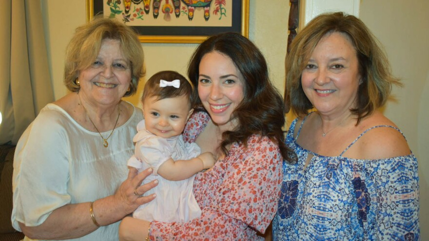 Vivian Garcia Leonard (left); Marissa Sofia Ochs (middle), holding her daughter, Liana; and Vivian J. Leonard (right) talk about being pharmacists in New York, a city that has been especially hard hit during the coronavirus pandemic.